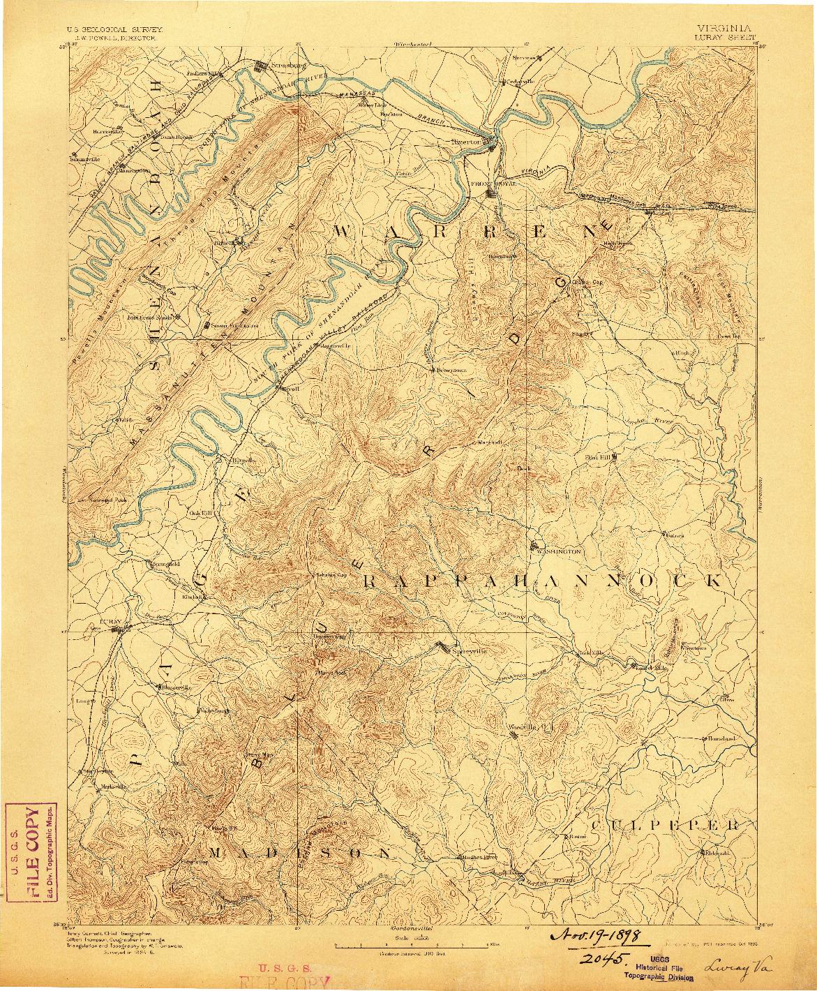 USGS 1:125000-SCALE QUADRANGLE FOR LURAY, VA 1893