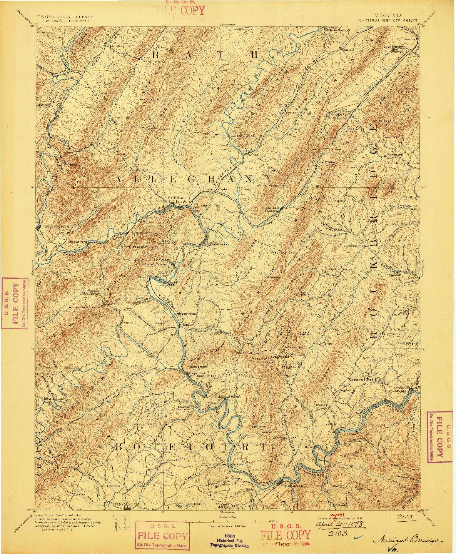 USGS 1:125000-SCALE QUADRANGLE FOR NATURAL BRIDGE, VA 1894