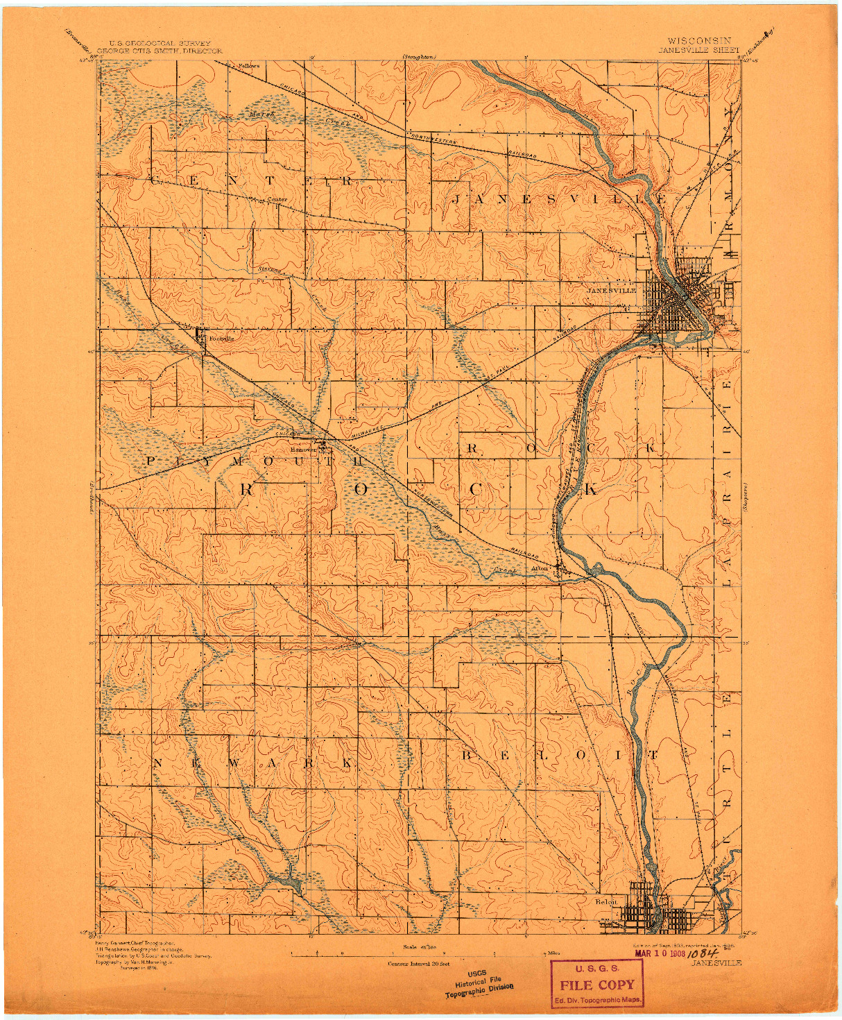USGS 1:62500-SCALE QUADRANGLE FOR JANESVILLE, WI 1893