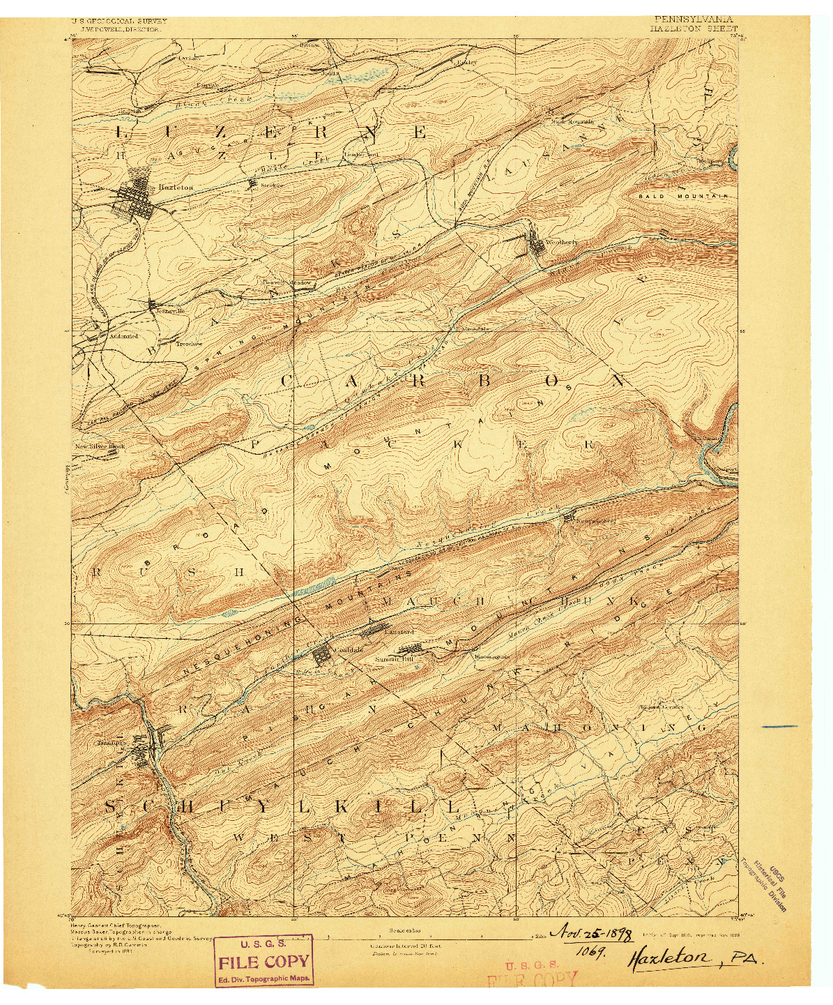 USGS 1:62500-SCALE QUADRANGLE FOR HAZLETON, PA 1893