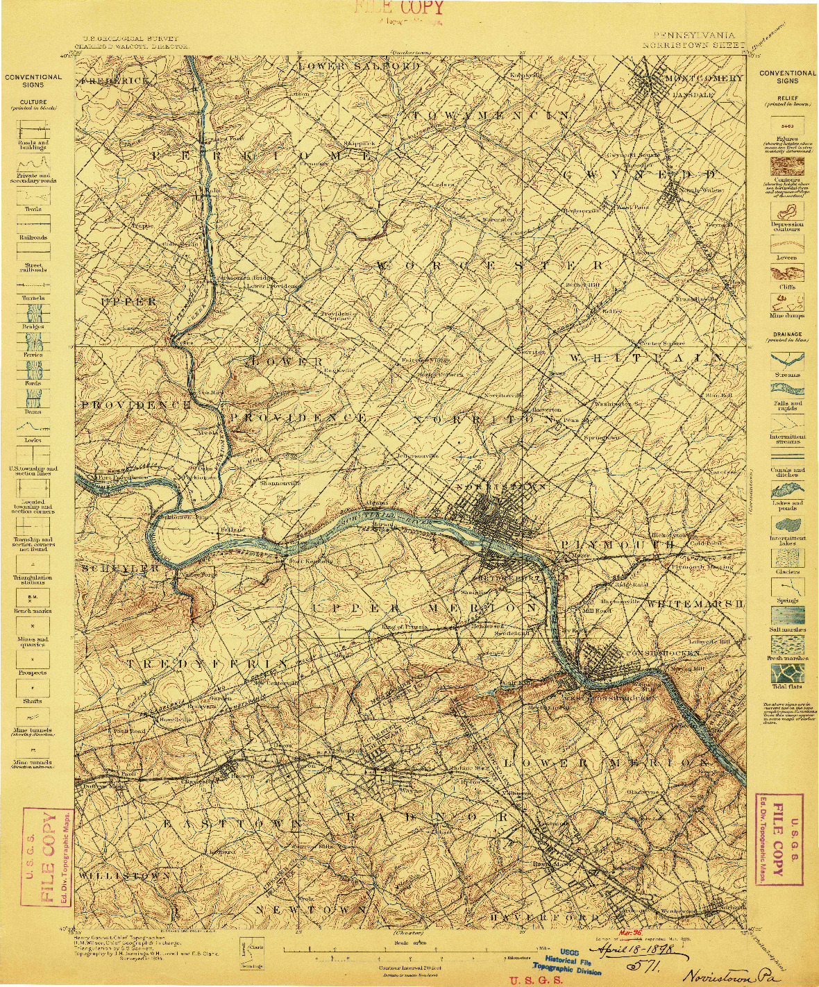 USGS 1:62500-SCALE QUADRANGLE FOR NORRISTOWN, PA 1895