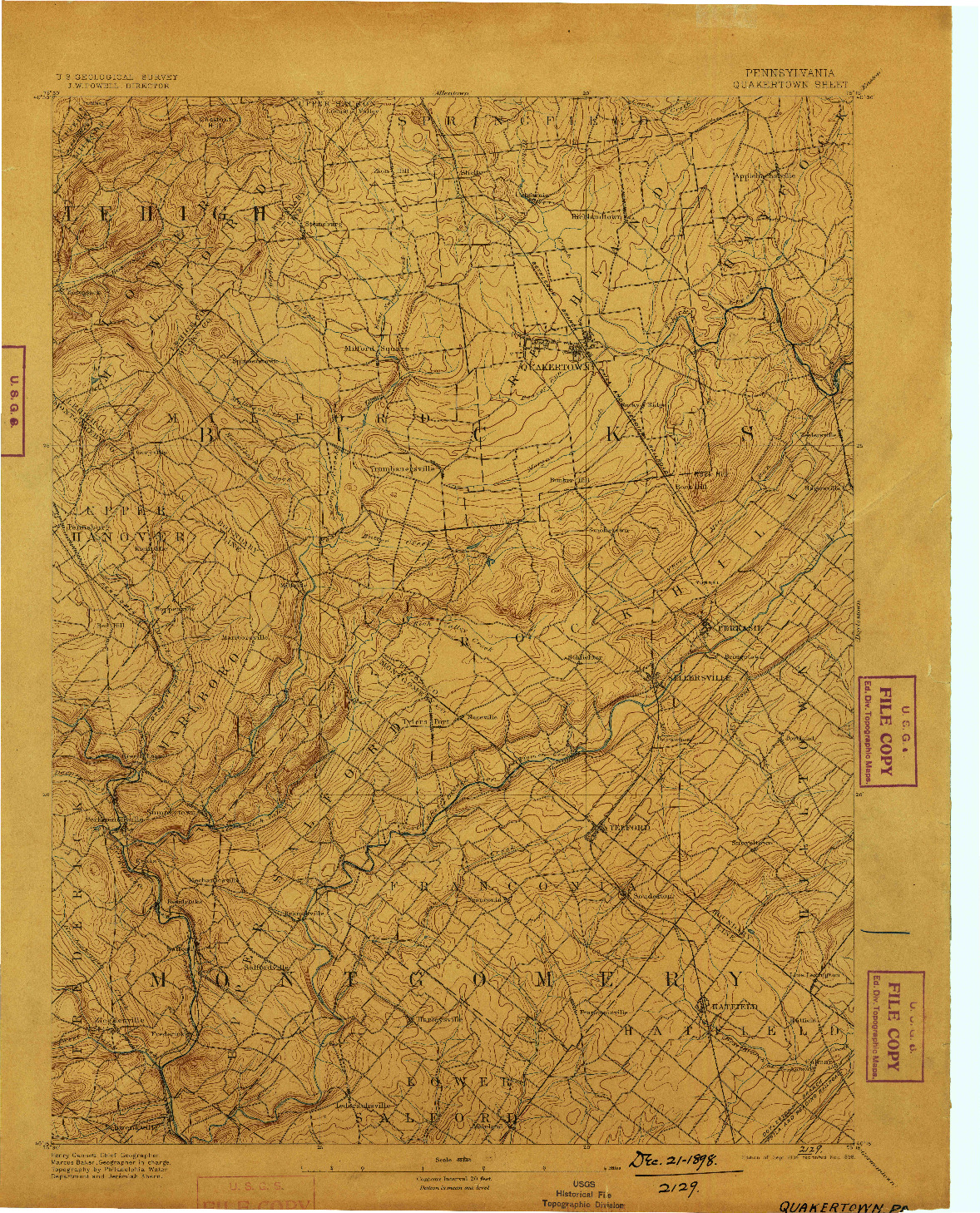 USGS 1:62500-SCALE QUADRANGLE FOR QUAKERTOWN, PA 1894