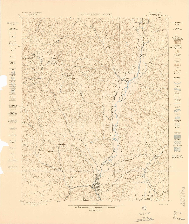 USGS 1:62500-SCALE QUADRANGLE FOR DURANGO, CO 1898