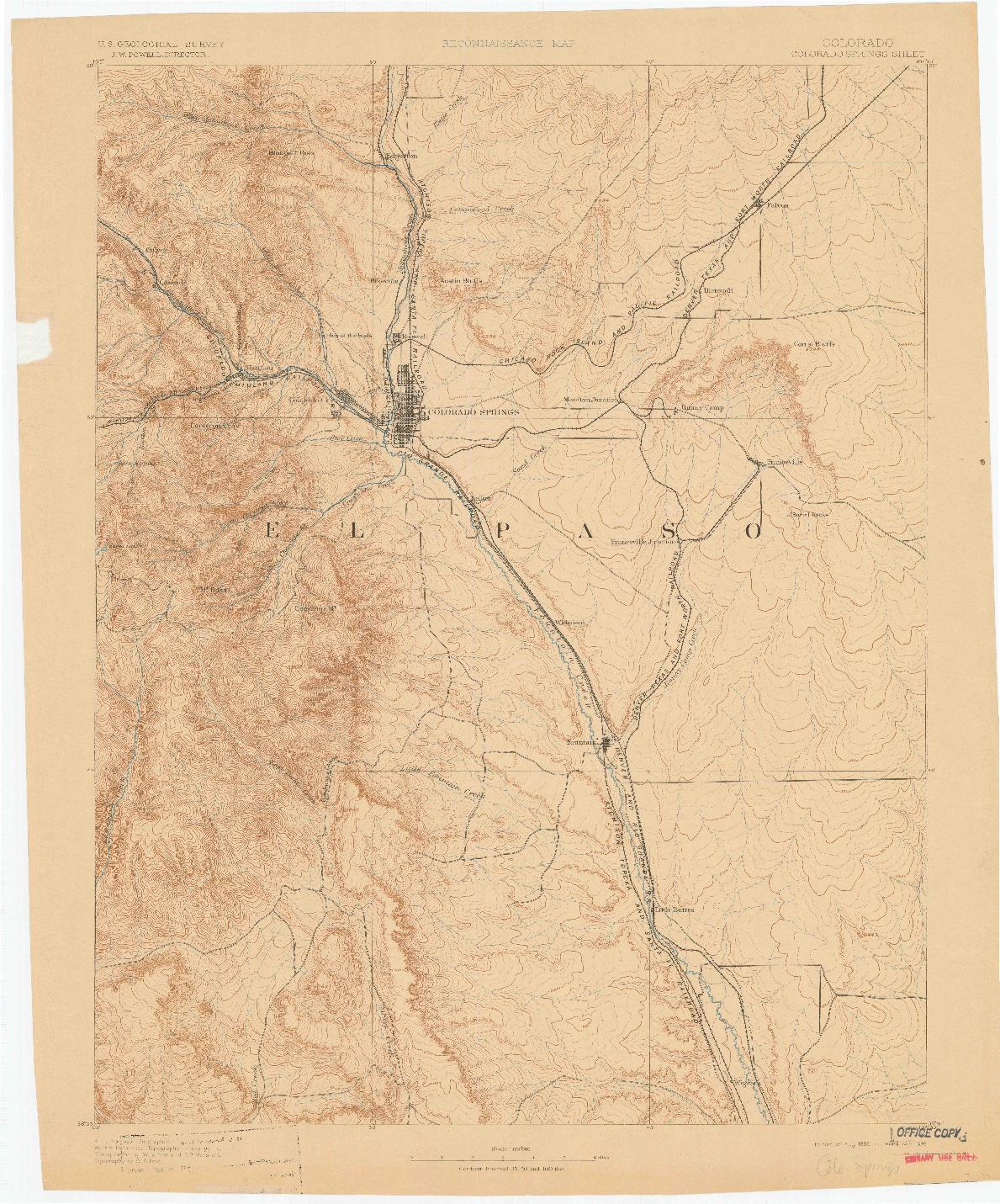 USGS 1:125000-SCALE QUADRANGLE FOR COLORADO SPRINGS, CO 1893