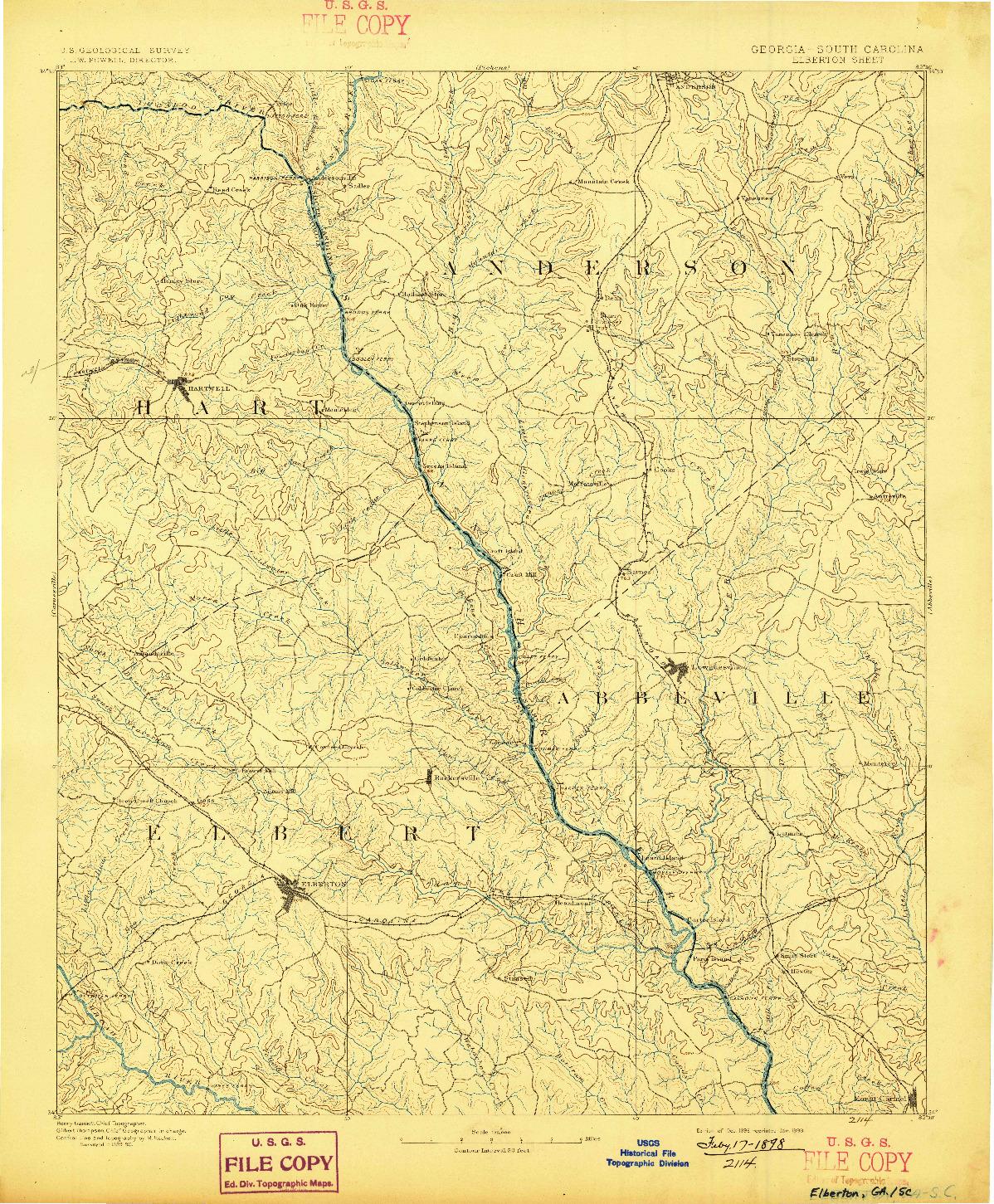 USGS 1:125000-SCALE QUADRANGLE FOR ELBERTON, GA 1893
