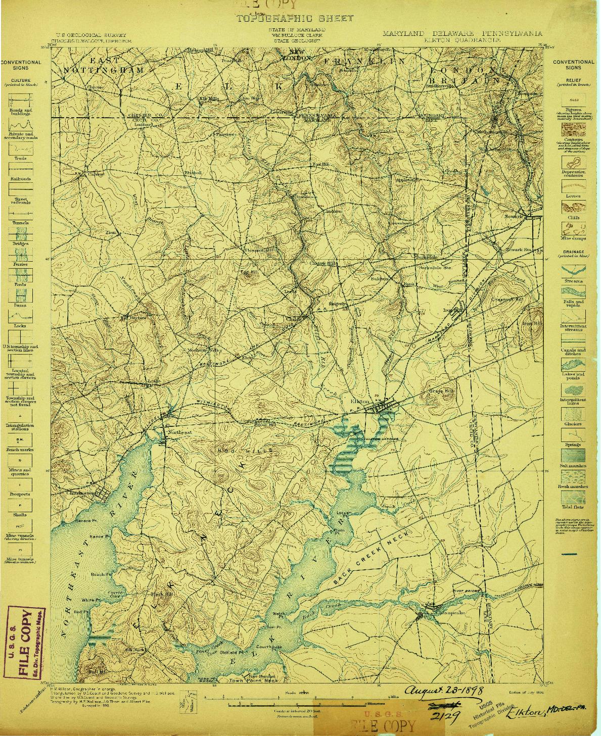 USGS 1:62500-SCALE QUADRANGLE FOR ELKTON, MD 1898