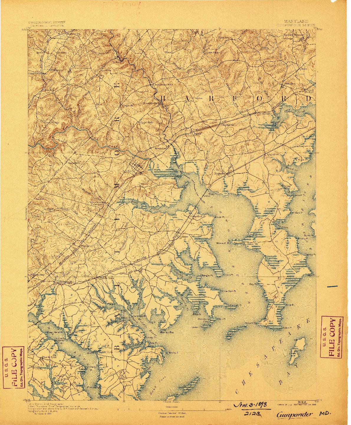 USGS 1:62500-SCALE QUADRANGLE FOR GUNPOWDER, MD 1893