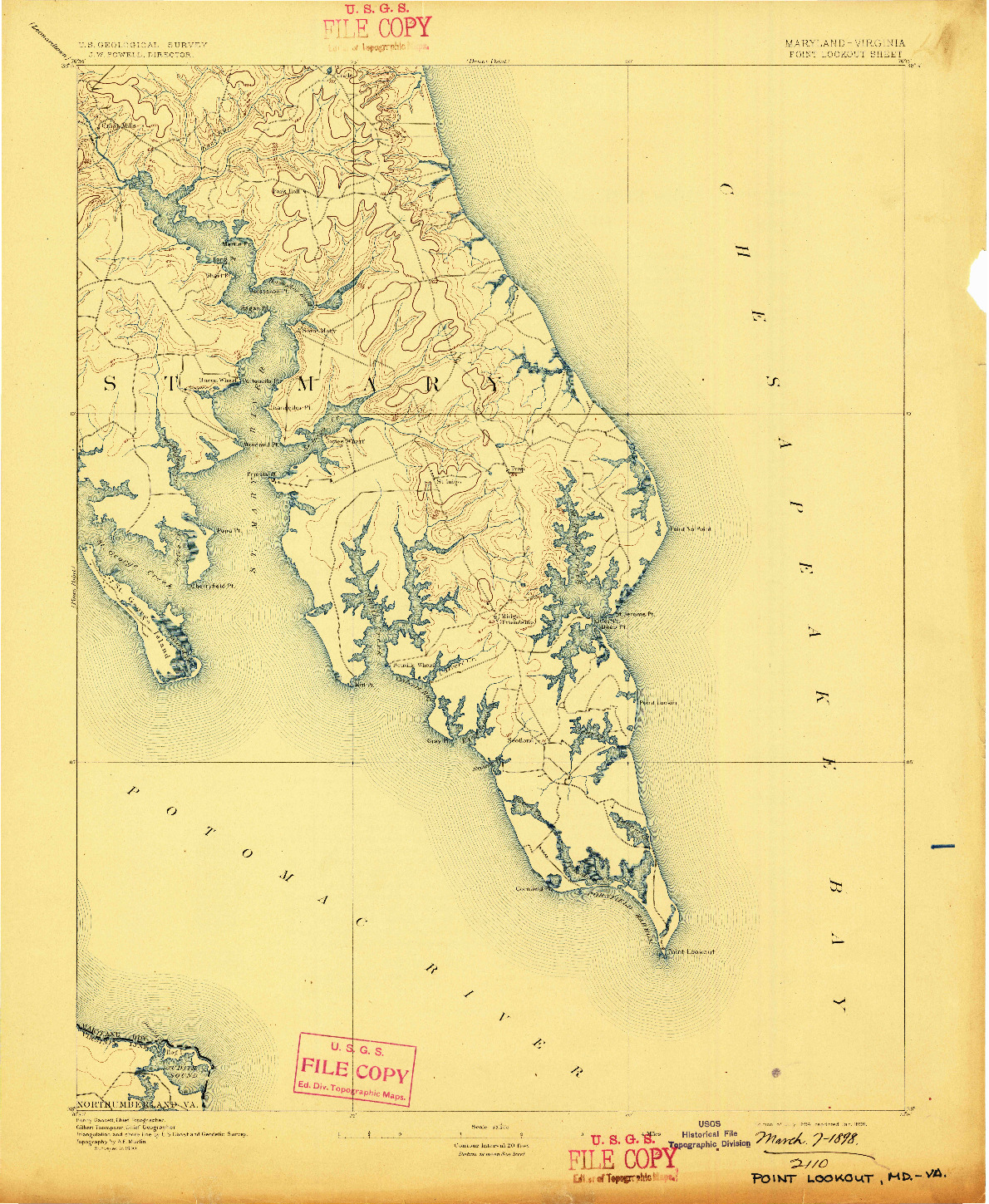 USGS 1:62500-SCALE QUADRANGLE FOR POINT LOOKOUT, MD 1894