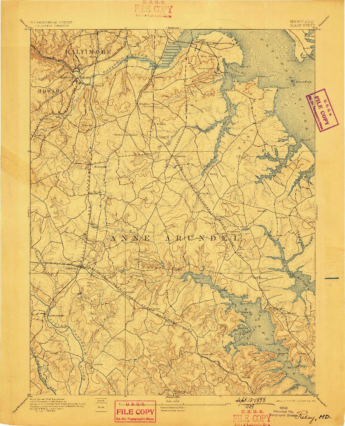 USGS 1:62500-SCALE QUADRANGLE FOR RELAY, MD 1894