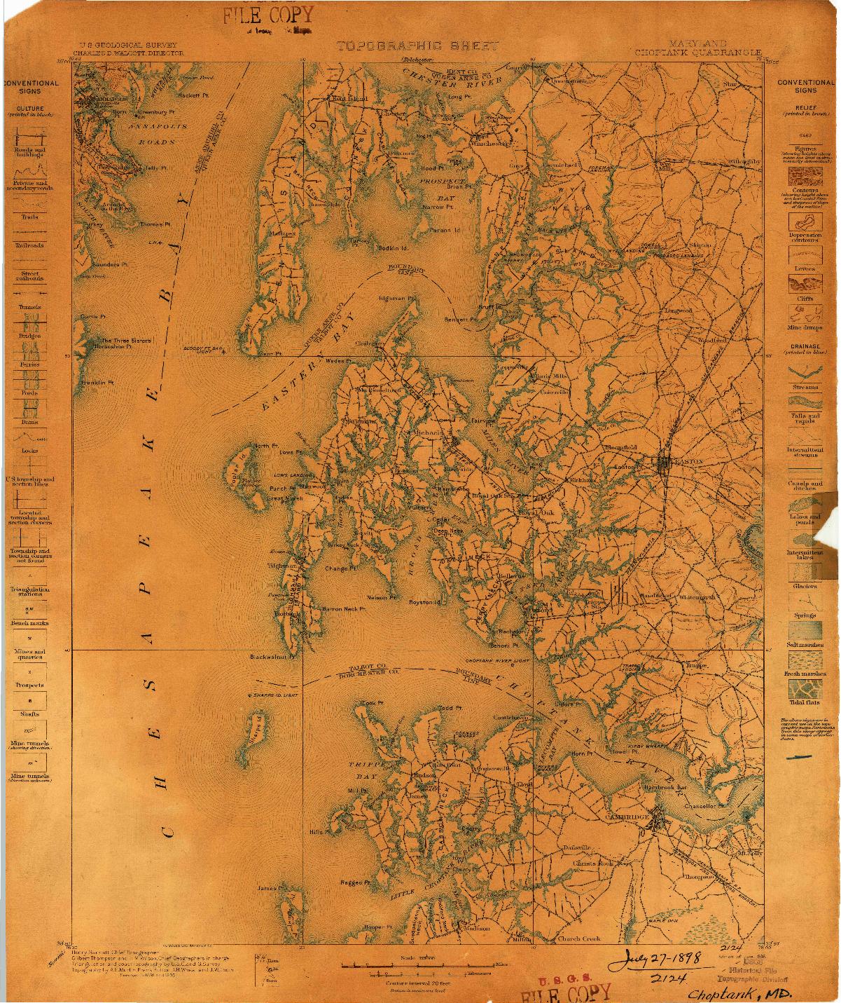 USGS 1:125000-SCALE QUADRANGLE FOR CHOPTANK, MD 1898
