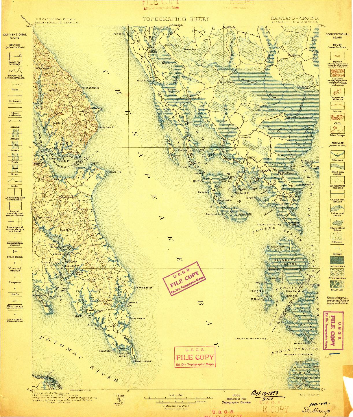 USGS 1:125000-SCALE QUADRANGLE FOR ST. MARYS, MD 1898