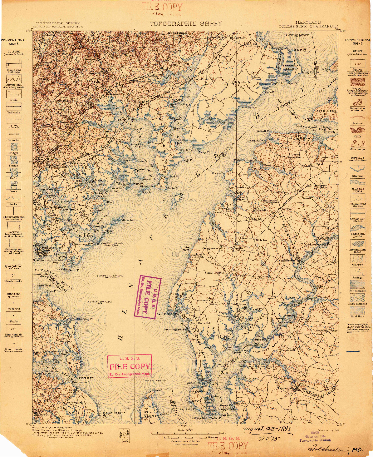USGS 1:125000-SCALE QUADRANGLE FOR TOLCHESTER, MD 1898