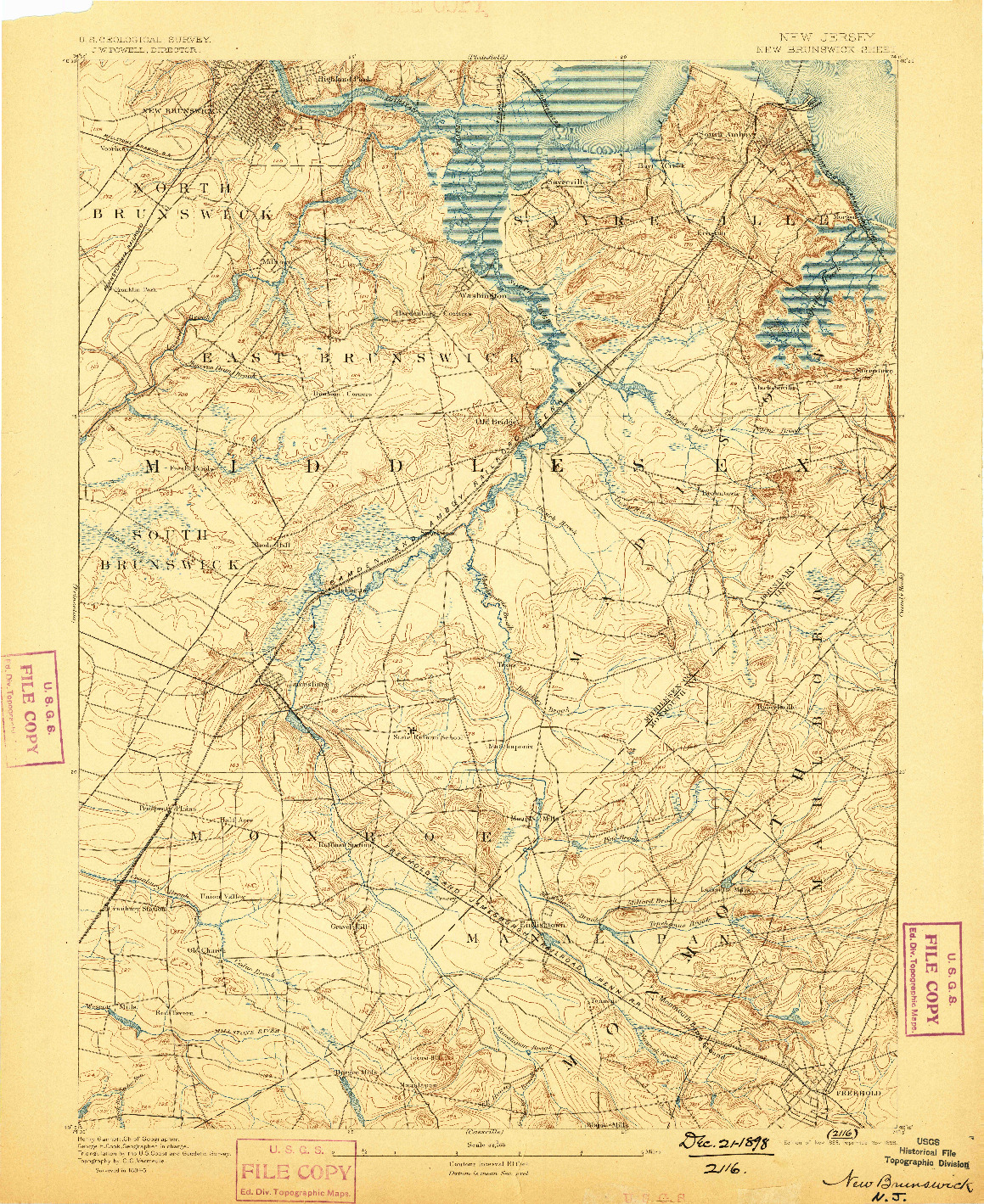 USGS 1:62500-SCALE QUADRANGLE FOR NEW BRUNSWICK, NJ 1893