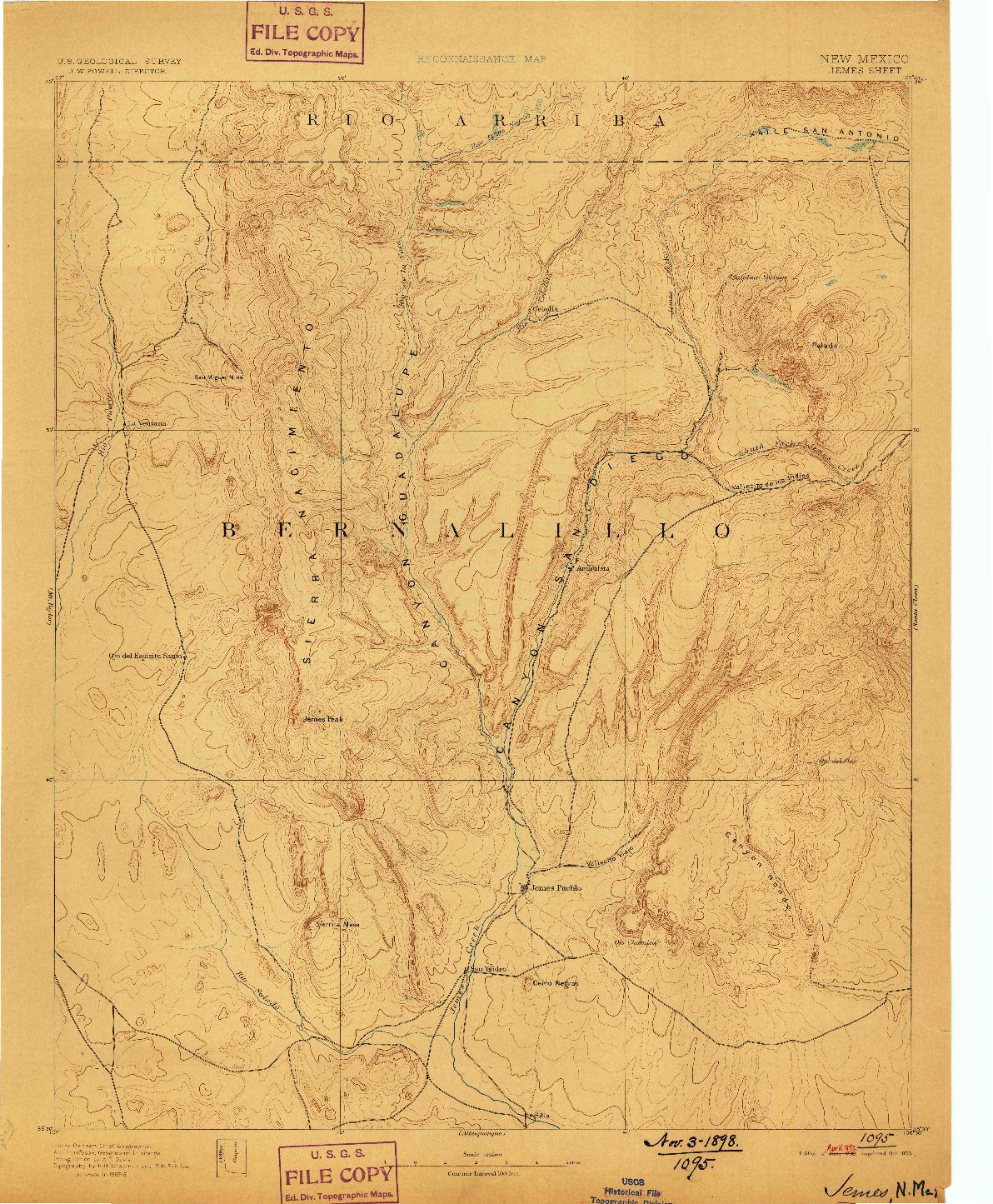 USGS 1:125000-SCALE QUADRANGLE FOR JEMES, NM 1890