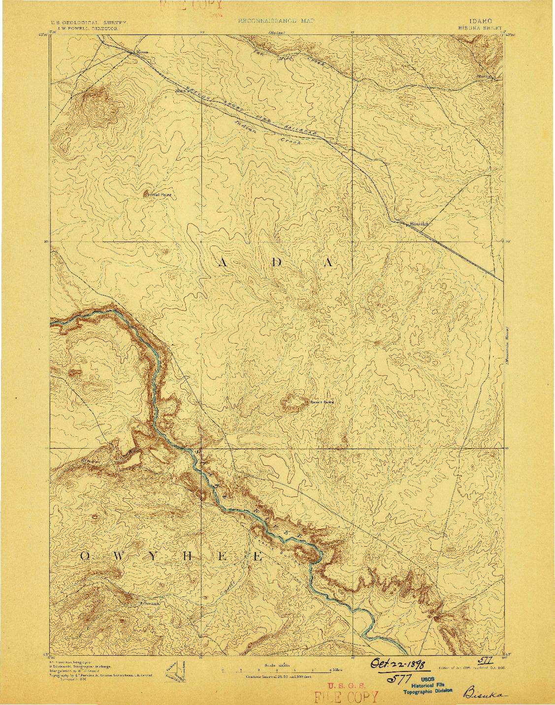 USGS 1:125000-SCALE QUADRANGLE FOR BISUKA, ID 1894