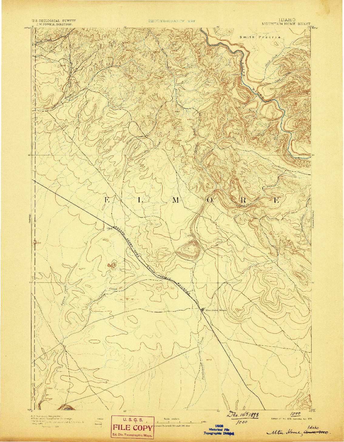 USGS 1:125000-SCALE QUADRANGLE FOR MOUNTAIN HOME, ID 1893