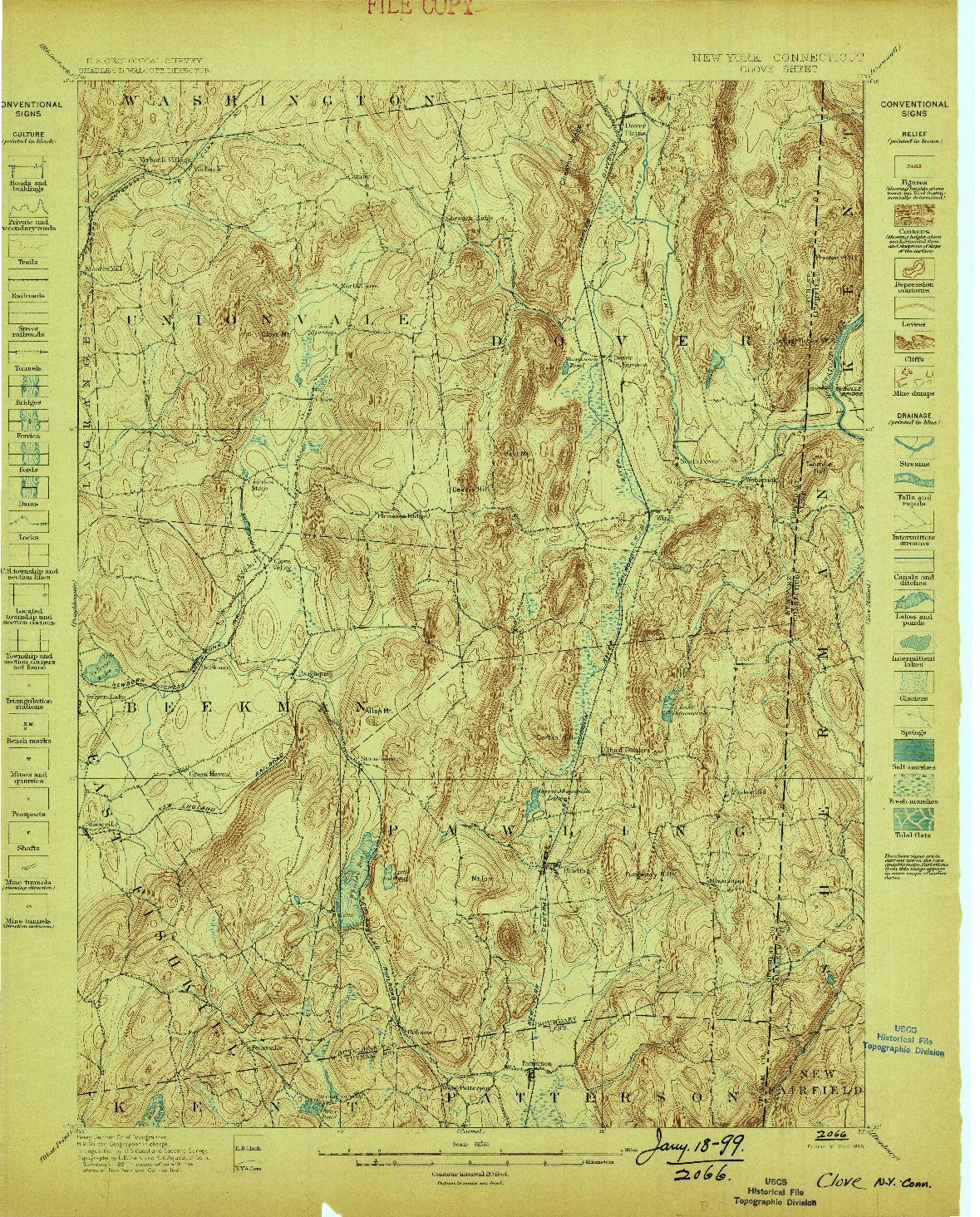 USGS 1:62500-SCALE QUADRANGLE FOR CLOVE, NY 1898