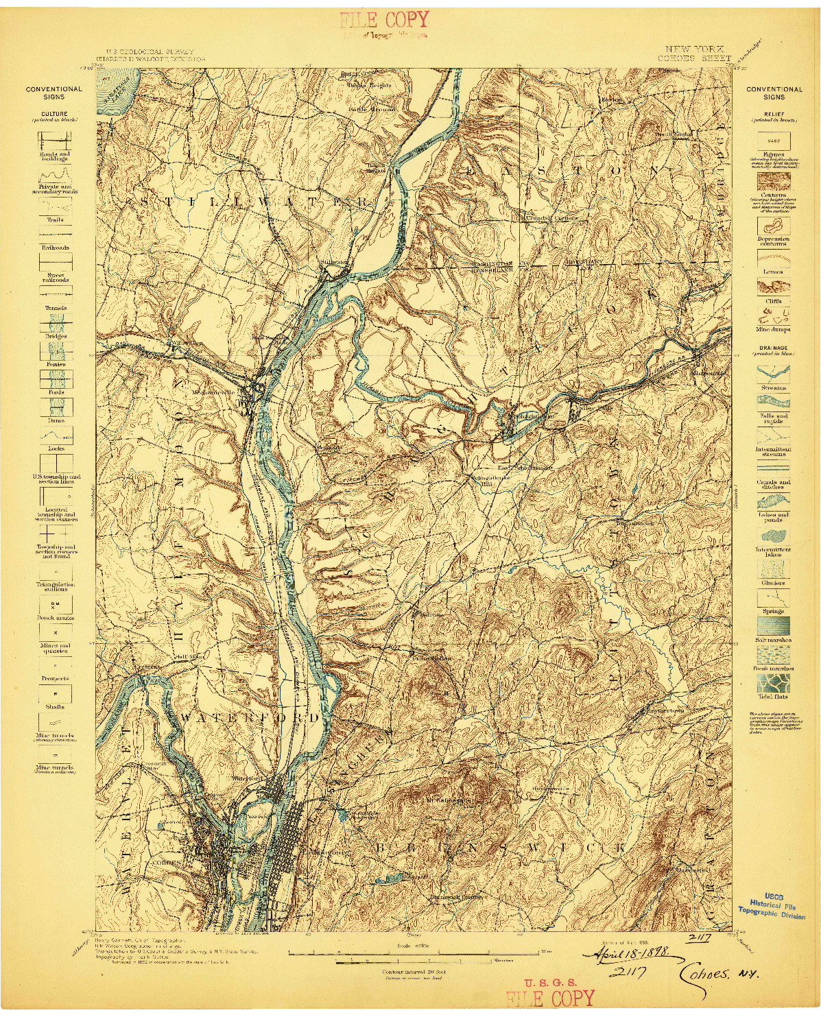 USGS 1:62500-SCALE QUADRANGLE FOR COHOES, NY 1898