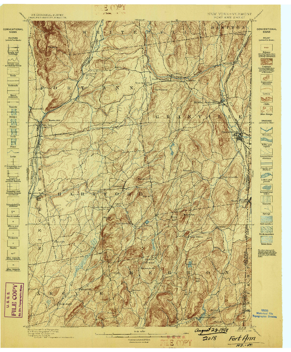USGS 1:62500-SCALE QUADRANGLE FOR FORT ANN, NY 1898