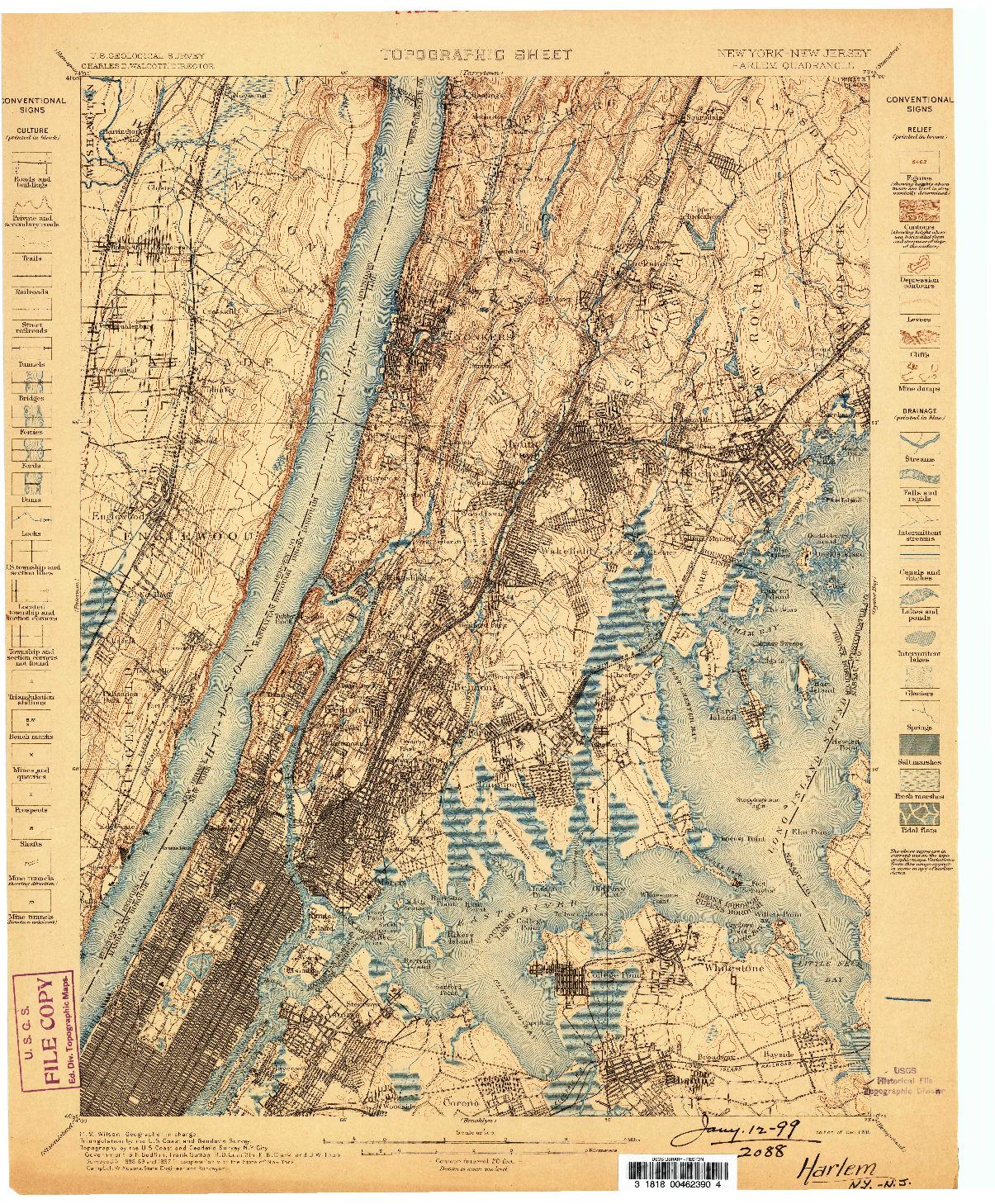 USGS 1:62500-SCALE QUADRANGLE FOR HARLEM, NY 1898