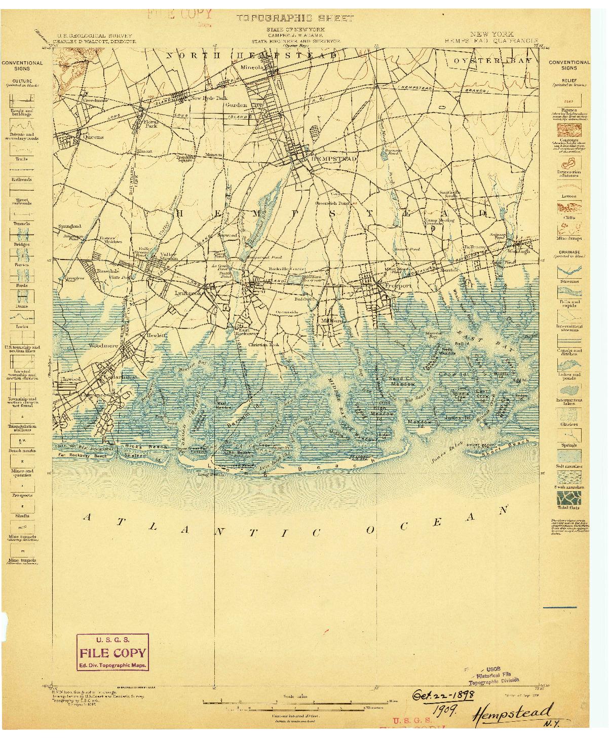 USGS 1:62500-SCALE QUADRANGLE FOR HEMPSTEAD, NY 1898