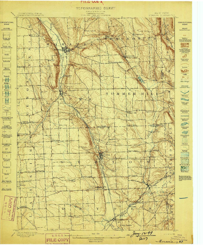 USGS 1:62500-SCALE QUADRANGLE FOR MORAVIA, NY 1898