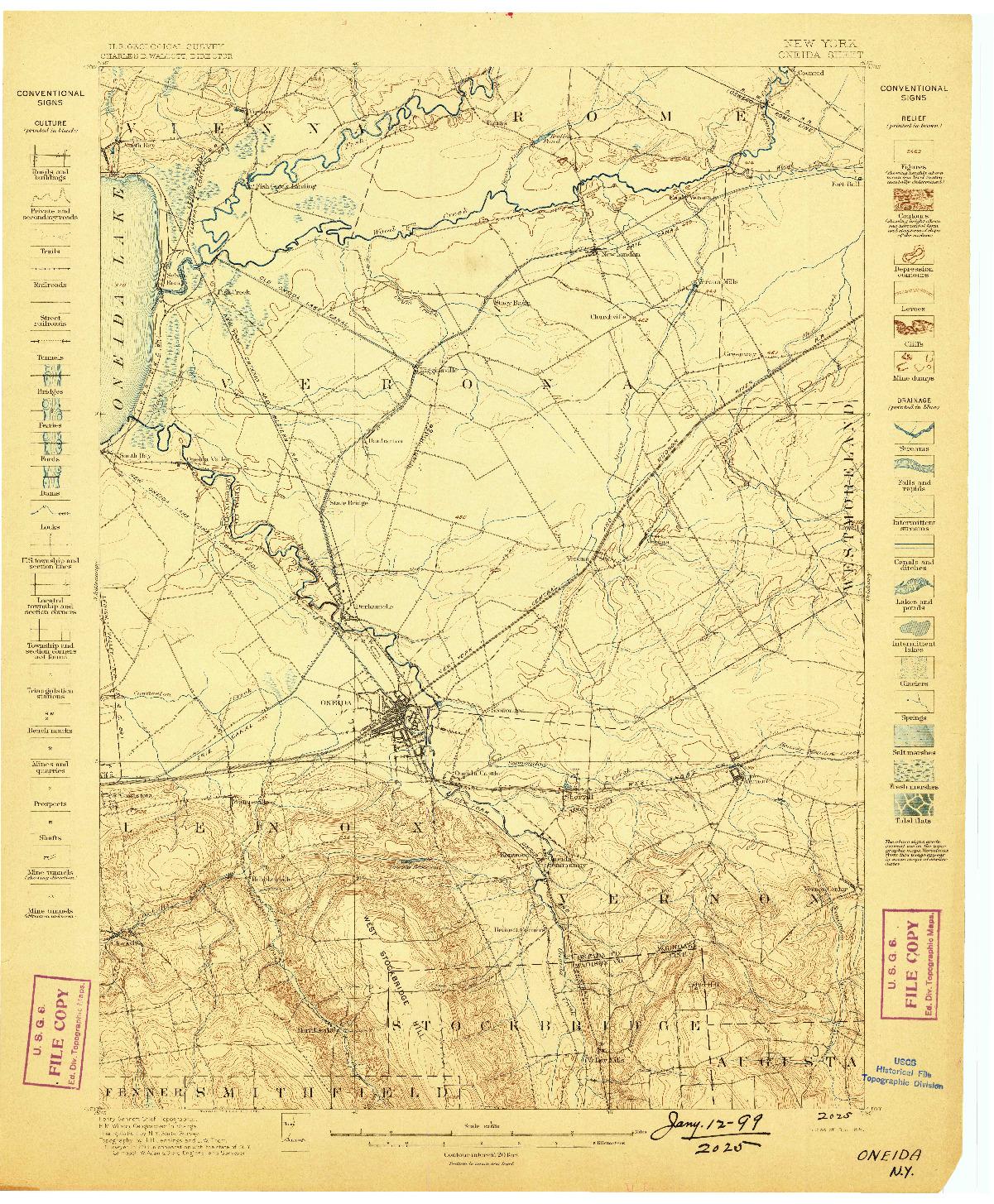 USGS 1:62500-SCALE QUADRANGLE FOR ONEIDA, NY 1898