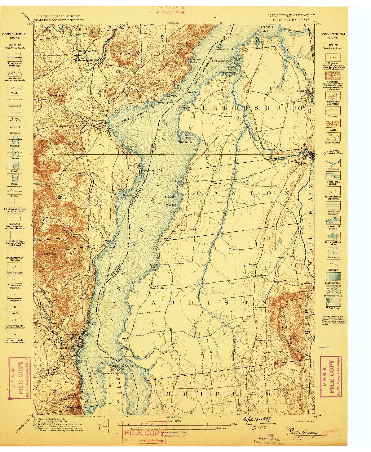 USGS 1:62500-SCALE QUADRANGLE FOR PORT HENRY, NY 1898