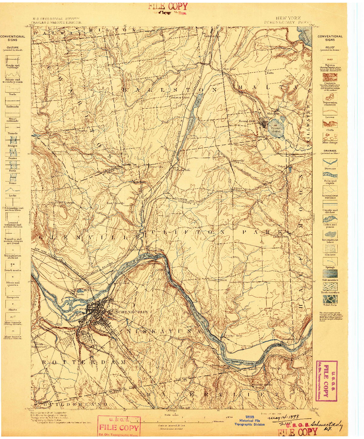 USGS 1:62500-SCALE QUADRANGLE FOR SCHENECTADY, NY 1898