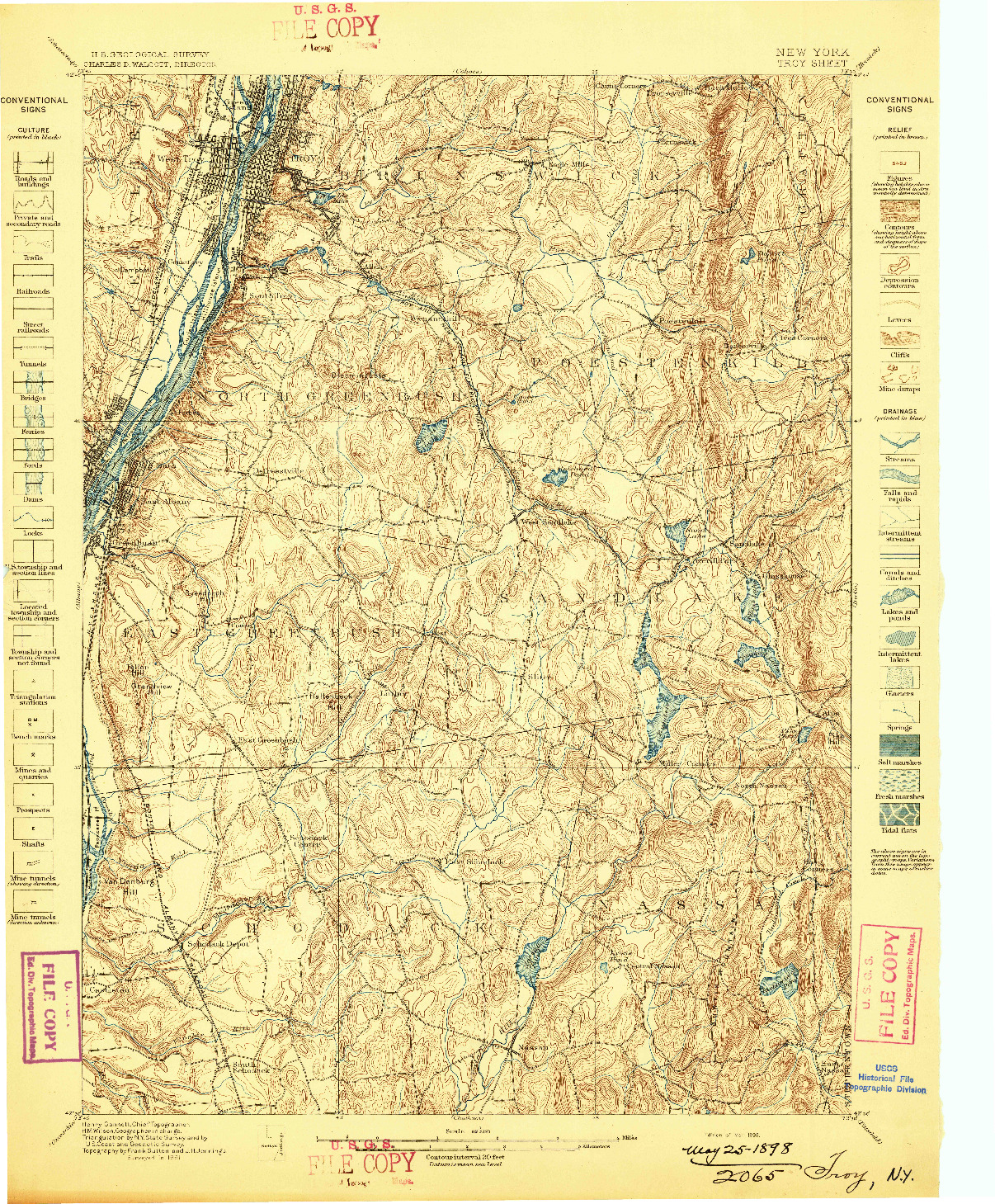 USGS 1:62500-SCALE QUADRANGLE FOR TROY, NY 1898