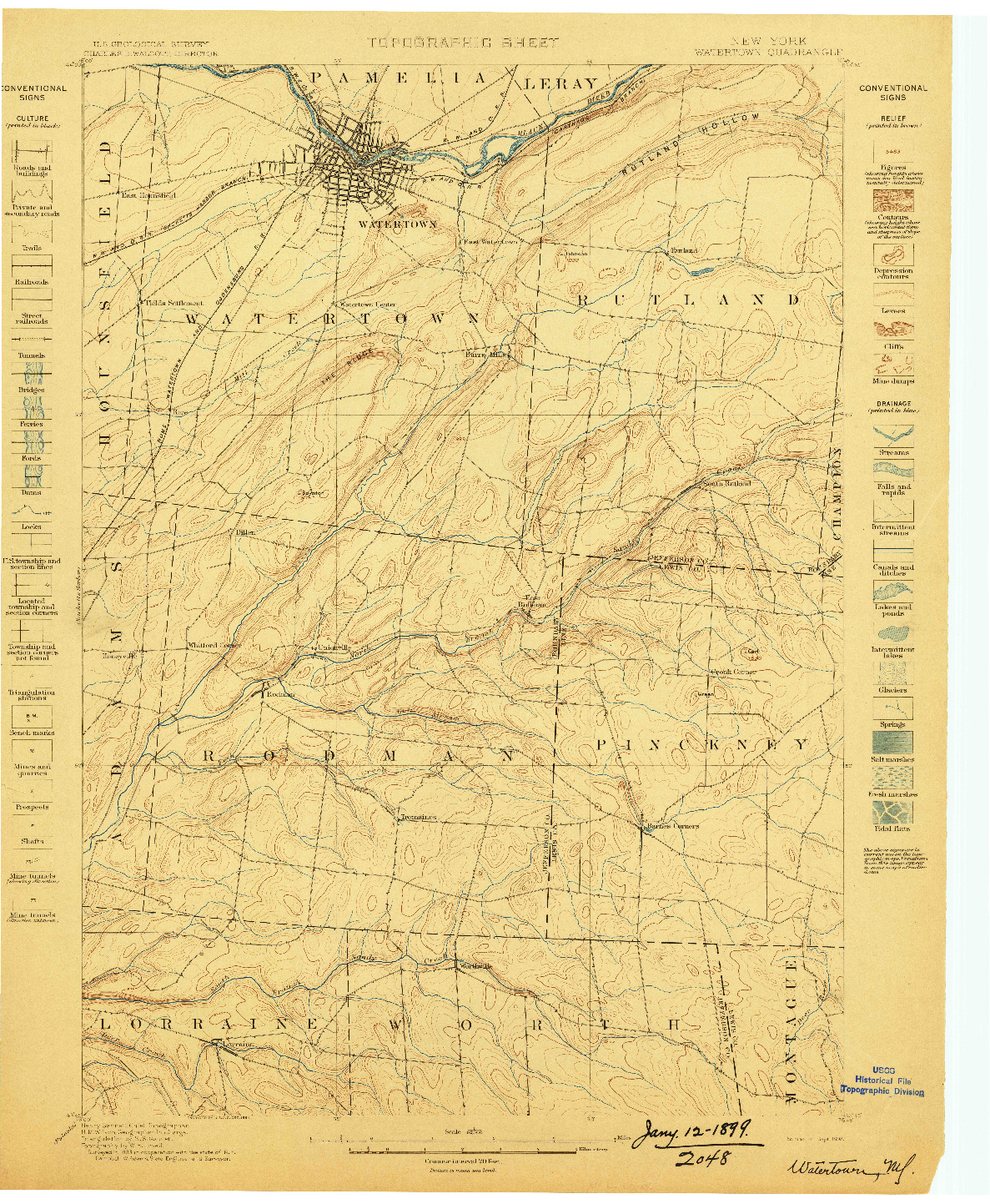 USGS 1:62500-SCALE QUADRANGLE FOR WATERTOWN, NY 1898
