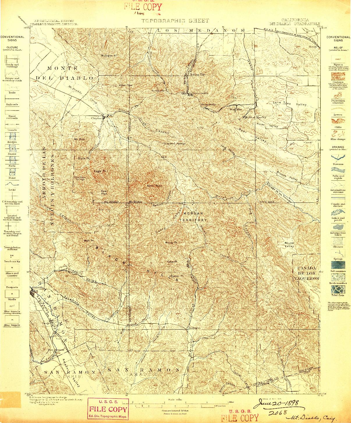 USGS 1:62500-SCALE QUADRANGLE FOR MT. DIABLO, CA 1898