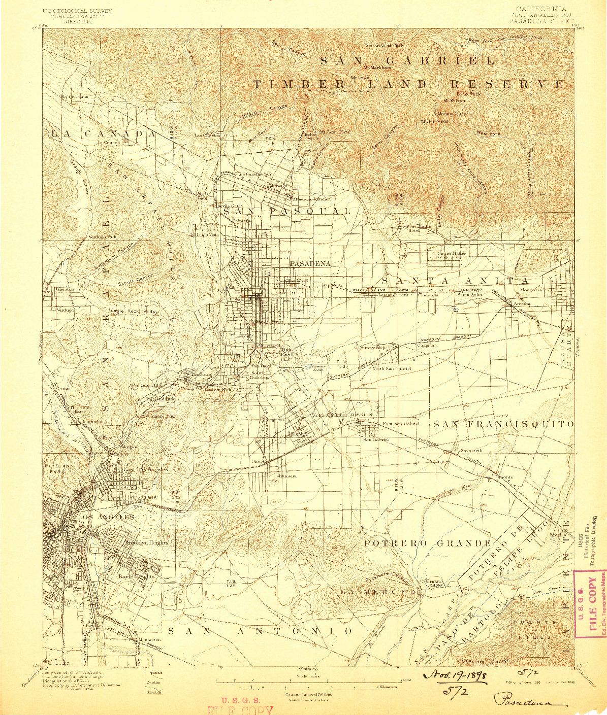 USGS 1:62500-SCALE QUADRANGLE FOR PASADENA, CA 1896
