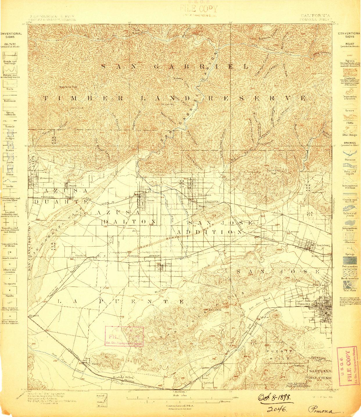 USGS 1:62500-SCALE QUADRANGLE FOR POMONA, CA 1898