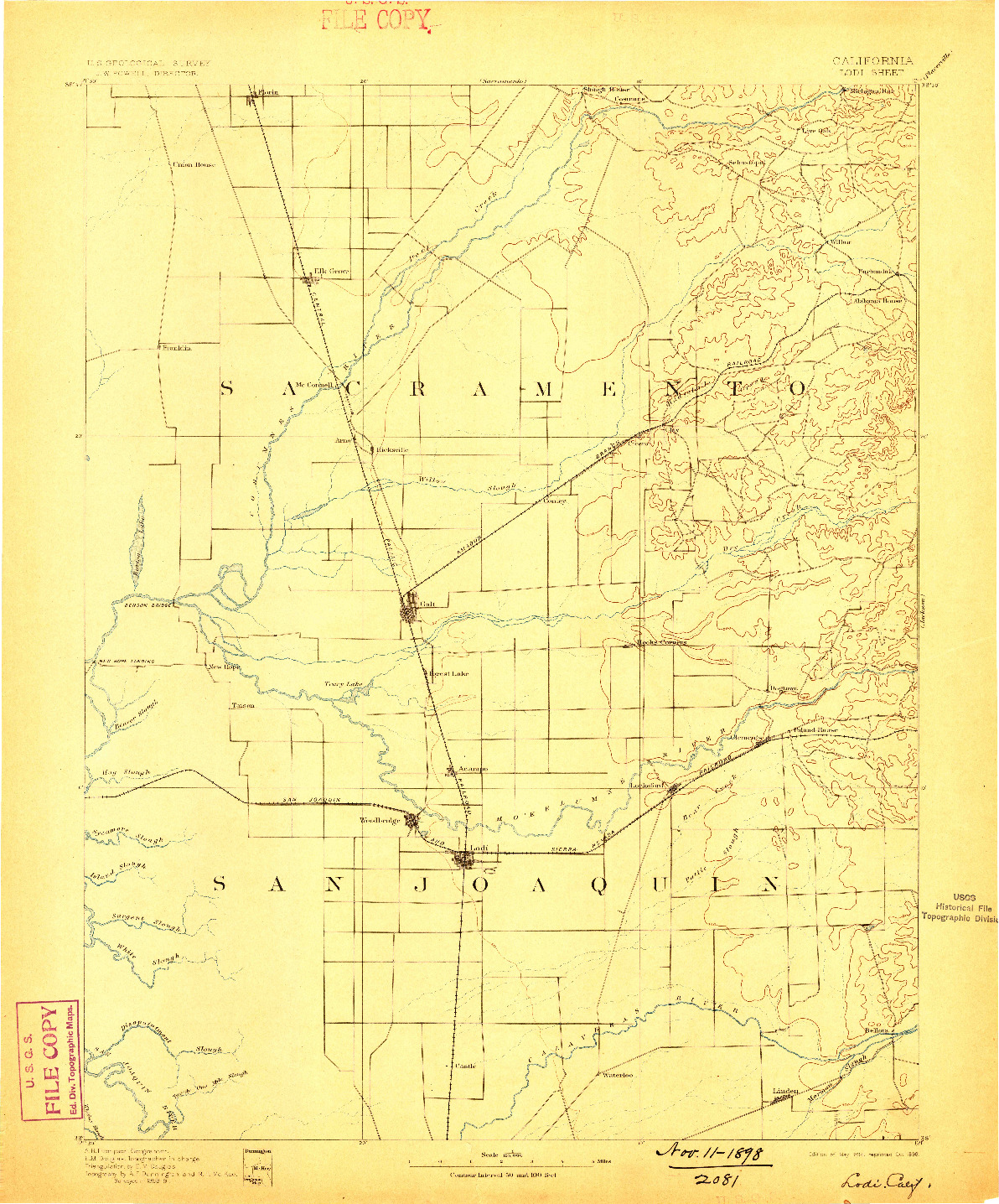 USGS 1:125000-SCALE QUADRANGLE FOR LODI, CA 1894