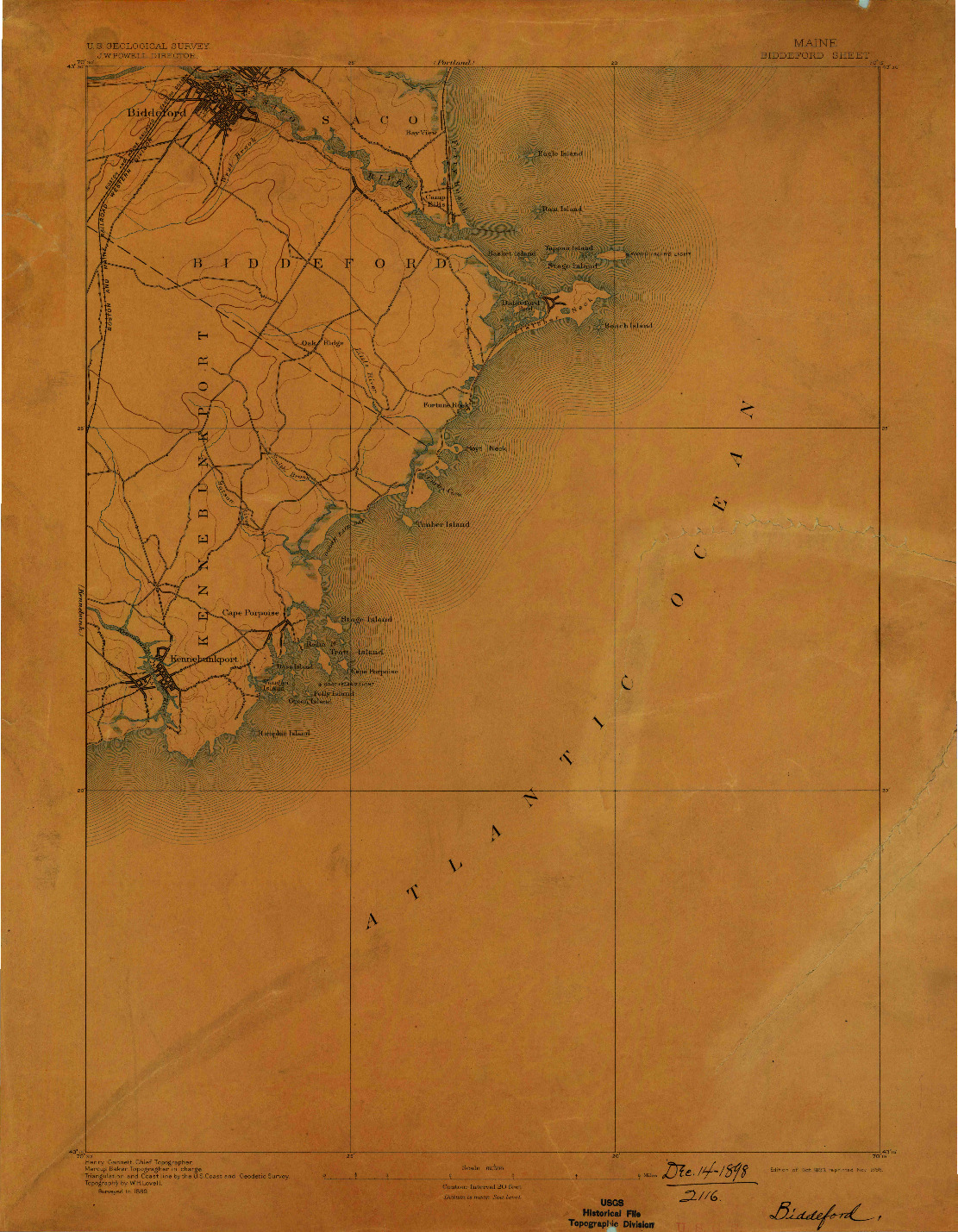 USGS 1:62500-SCALE QUADRANGLE FOR BIDDEFORD, ME 1893