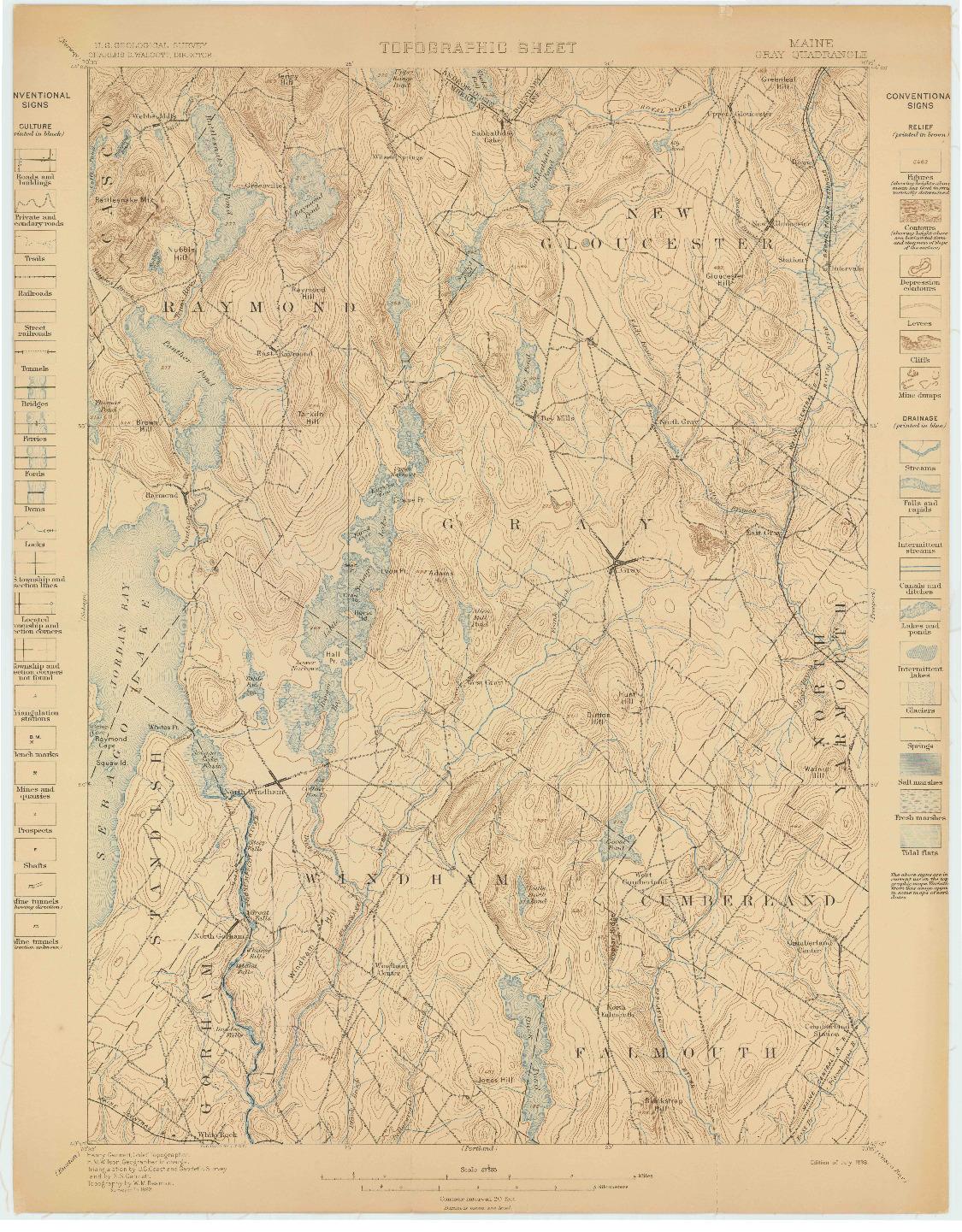 USGS 1:62500-SCALE QUADRANGLE FOR GRAY, ME 1898