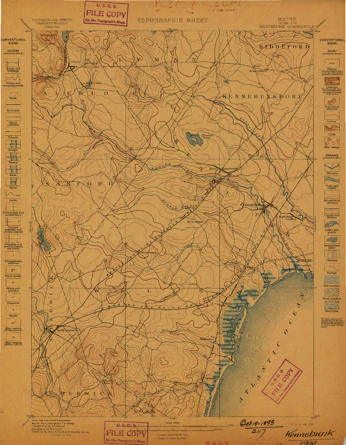 USGS 1:62500-SCALE QUADRANGLE FOR KENNEBUNK, ME 1898