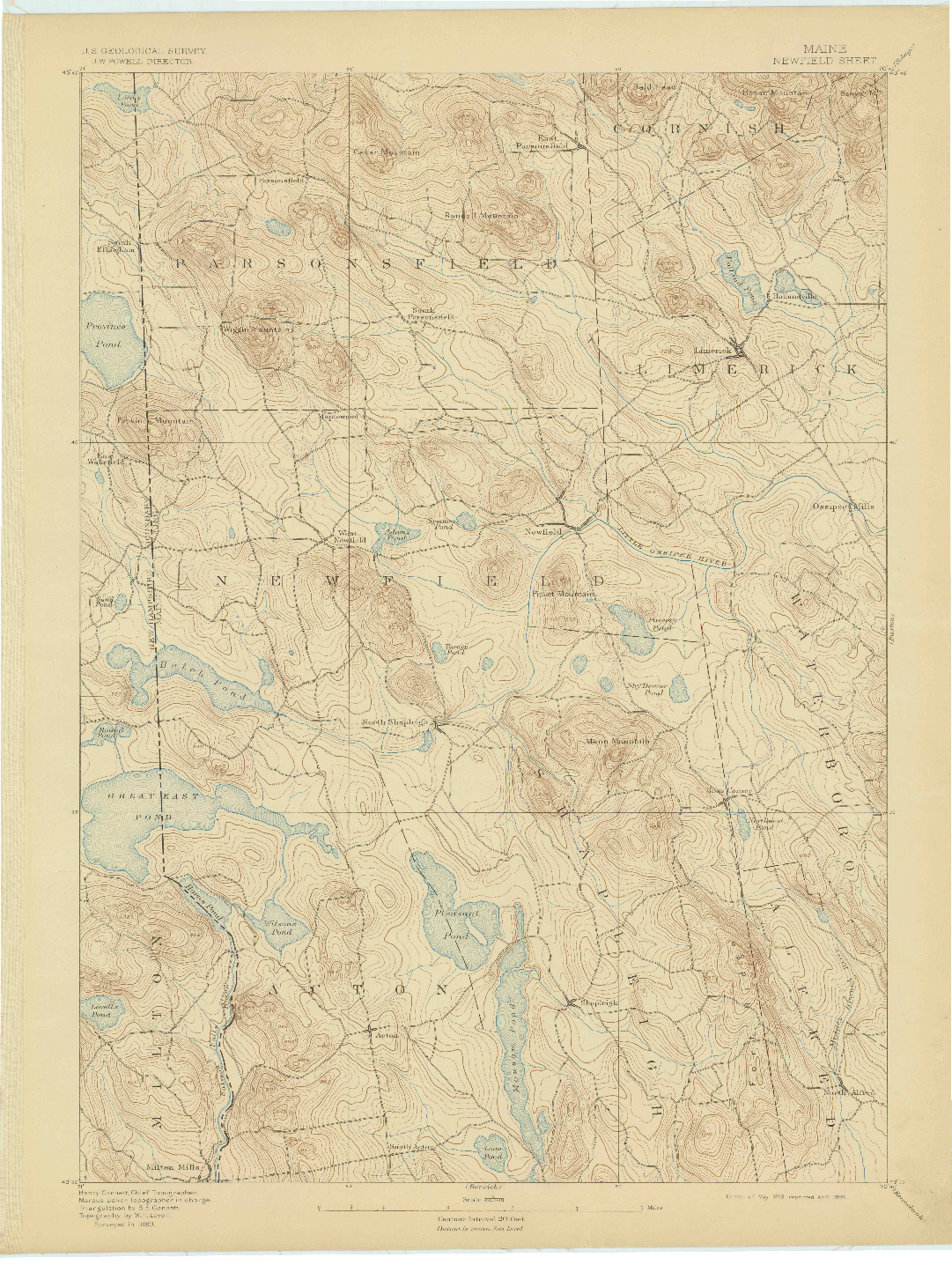 USGS 1:62500-SCALE QUADRANGLE FOR NEWFIELD, ME 1893