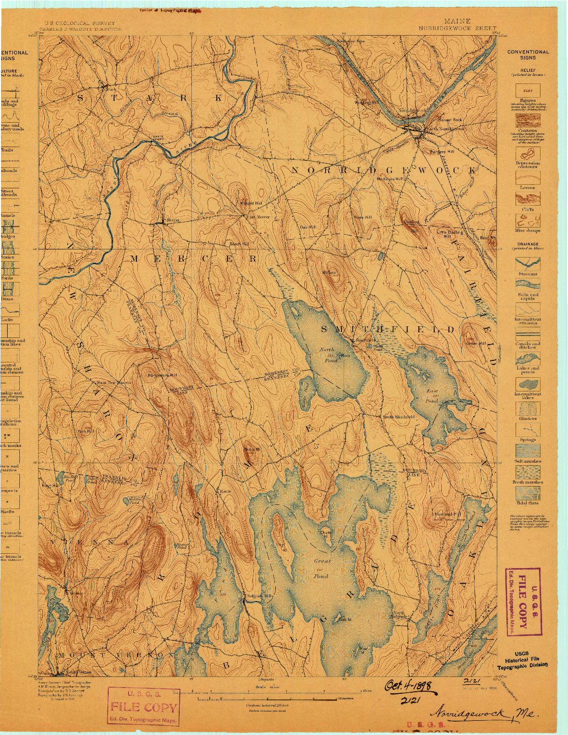 USGS 1:62500-SCALE QUADRANGLE FOR NORRIDGEWOCK, ME 1898