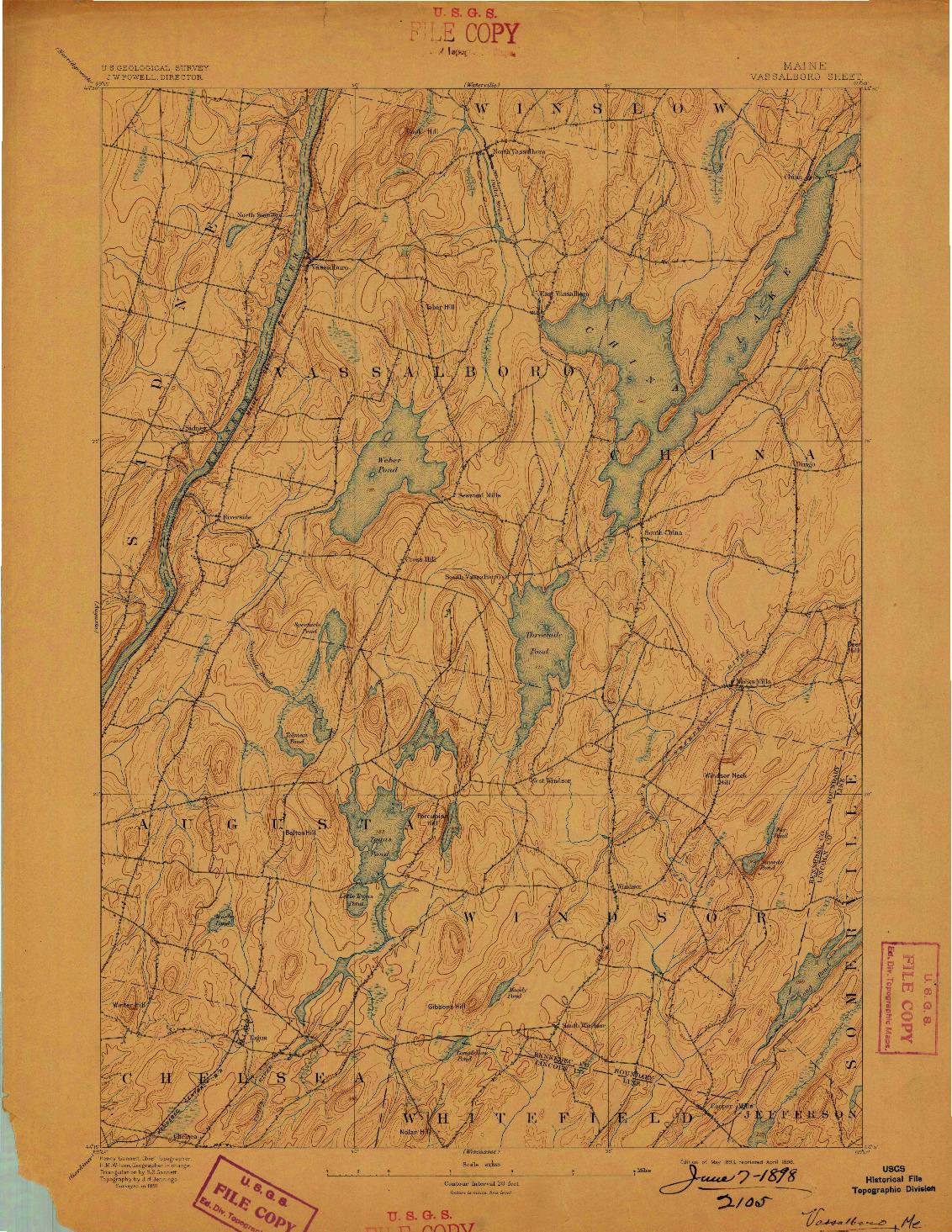 USGS 1:62500-SCALE QUADRANGLE FOR VASSALBORO, ME 1893