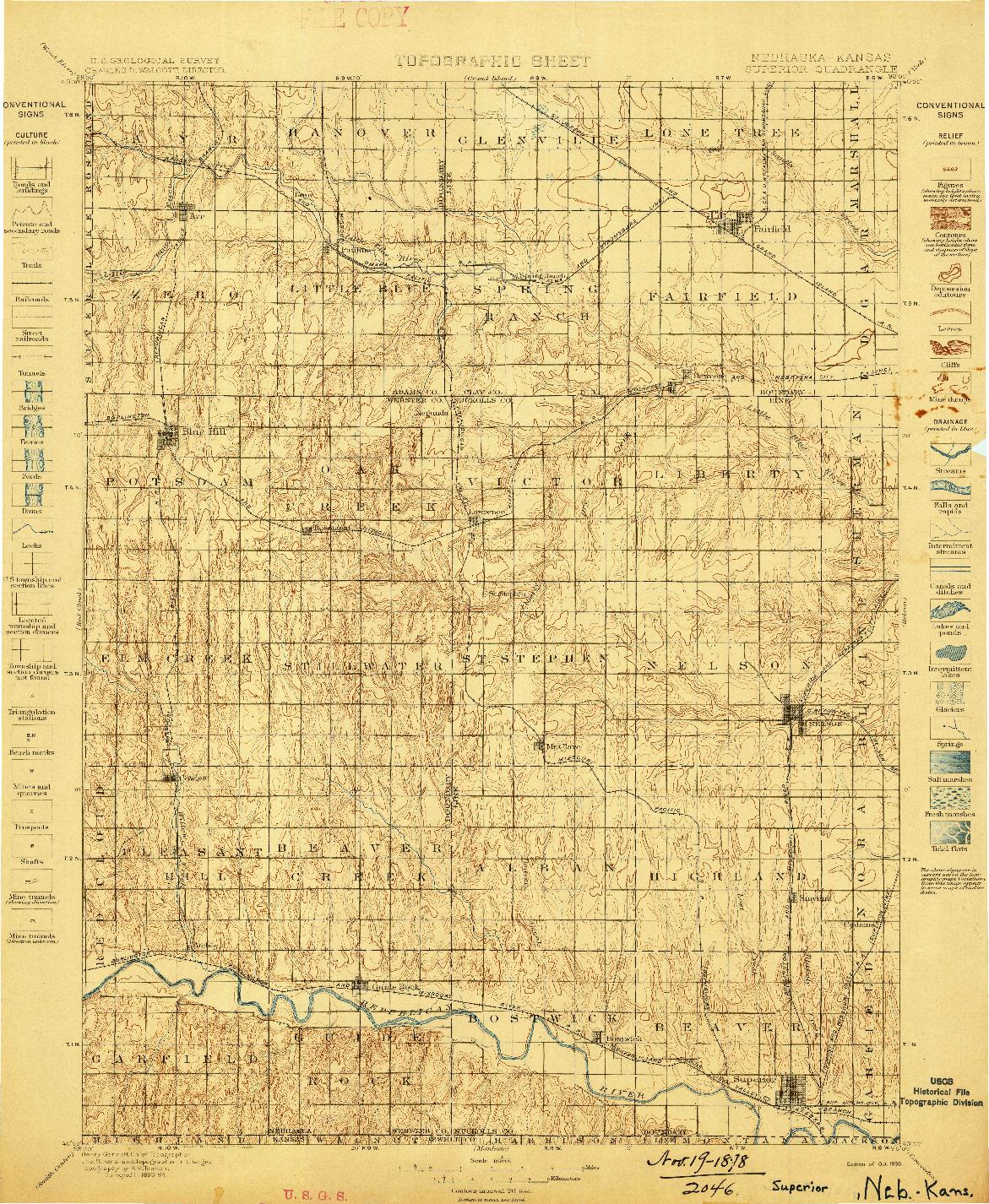 USGS 1:125000-SCALE QUADRANGLE FOR SUPERIOR, NE 1898