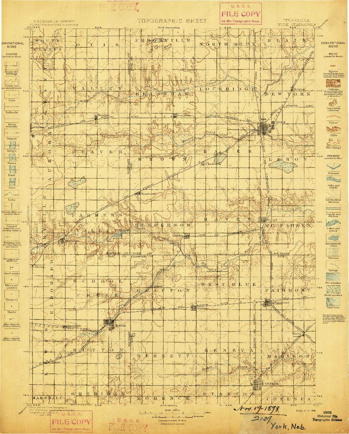 USGS 1:125000-SCALE QUADRANGLE FOR YORK, NE 1898