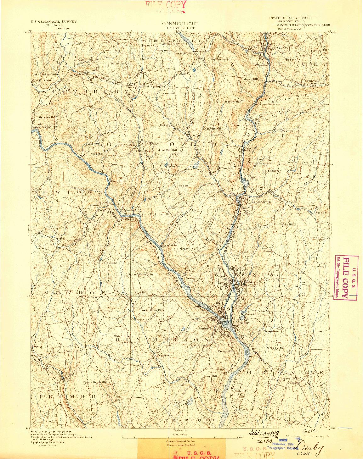 USGS 1:62500-SCALE QUADRANGLE FOR DERBY, CT 1893