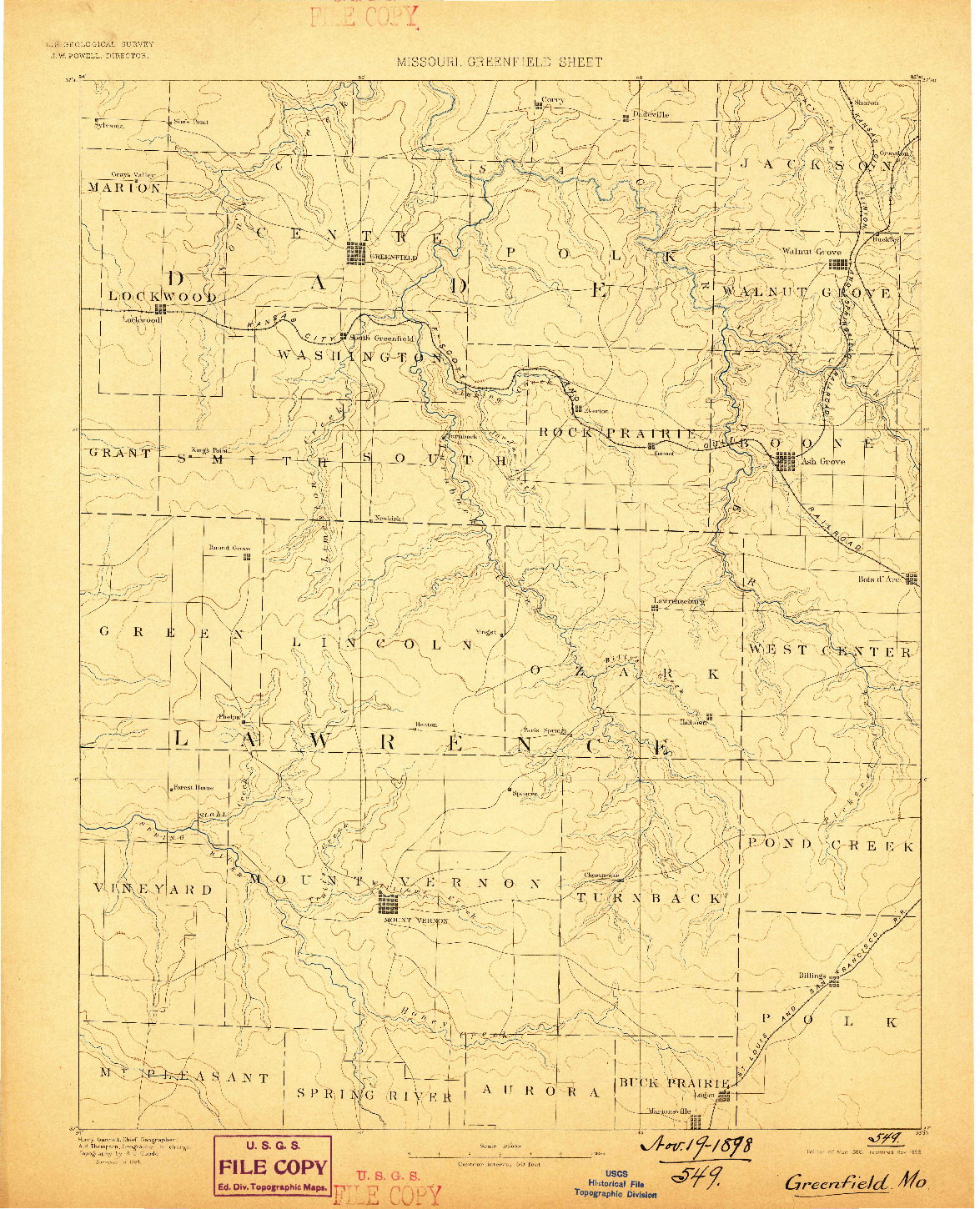 USGS 1:125000-SCALE QUADRANGLE FOR GREENFIELD, MO 1888