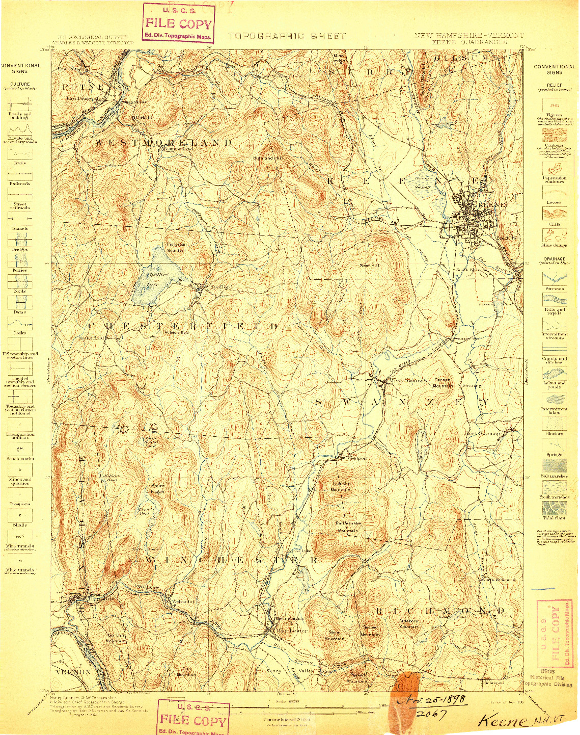 USGS 1:62500-SCALE QUADRANGLE FOR KEENE, NH 1898