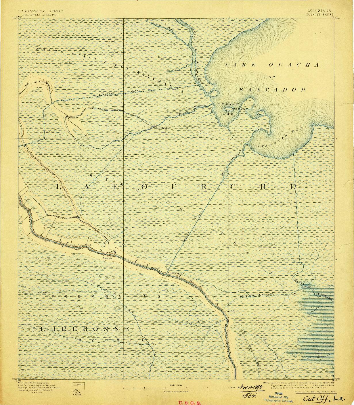 USGS 1:62500-SCALE QUADRANGLE FOR CUT-OFF, LA 1892