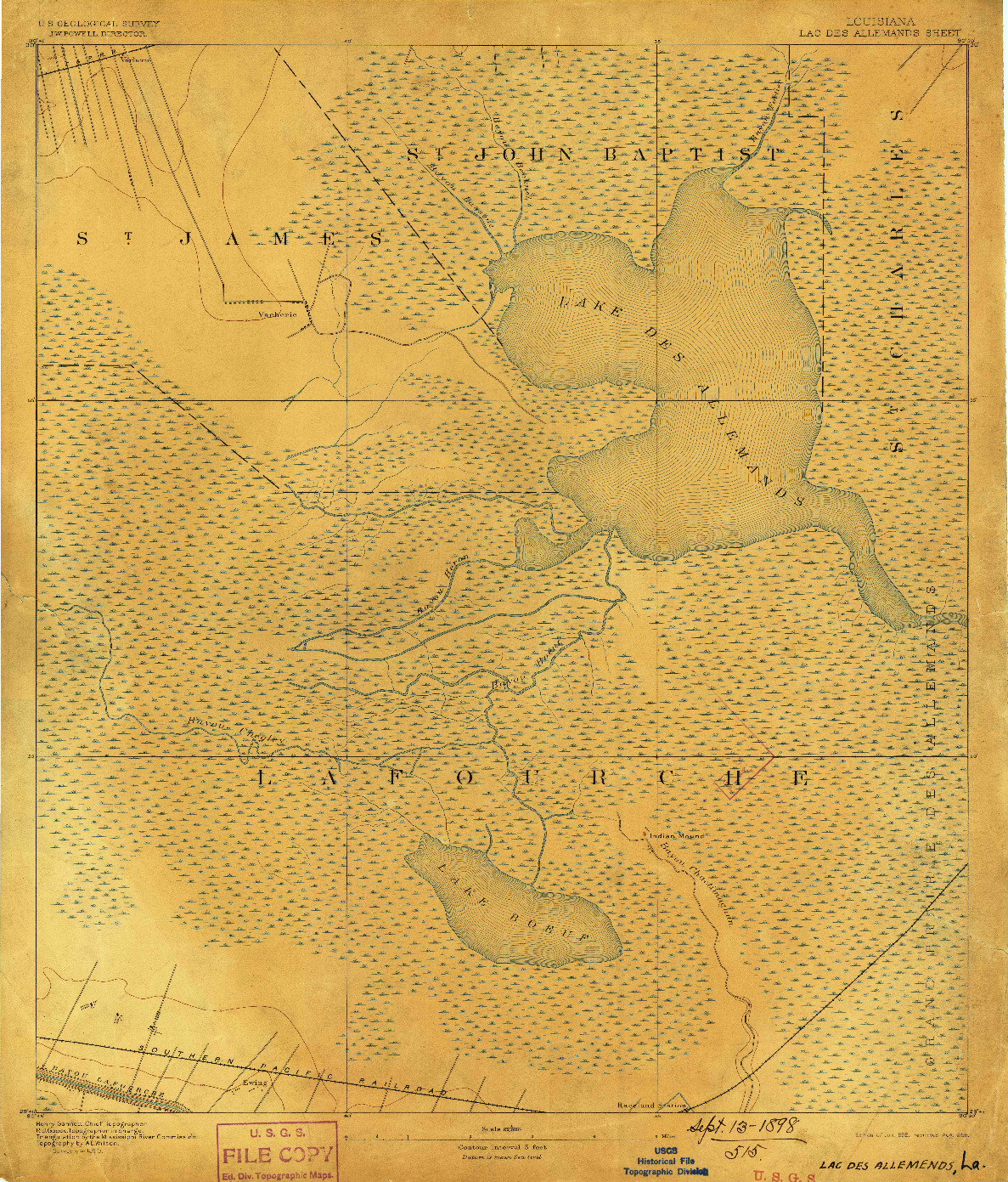 USGS 1:62500-SCALE QUADRANGLE FOR LAC DES ALLEMANDS, LA 1892