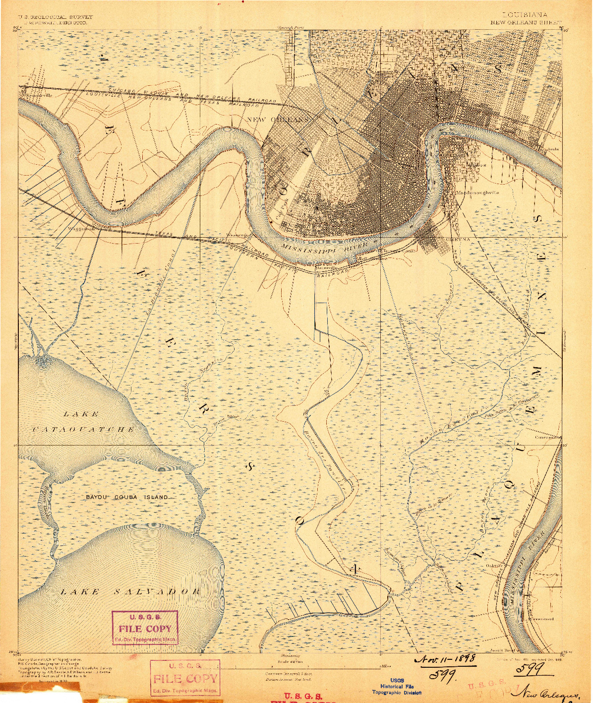 USGS 1:62500-SCALE QUADRANGLE FOR NEW ORLEANS, LA 1891