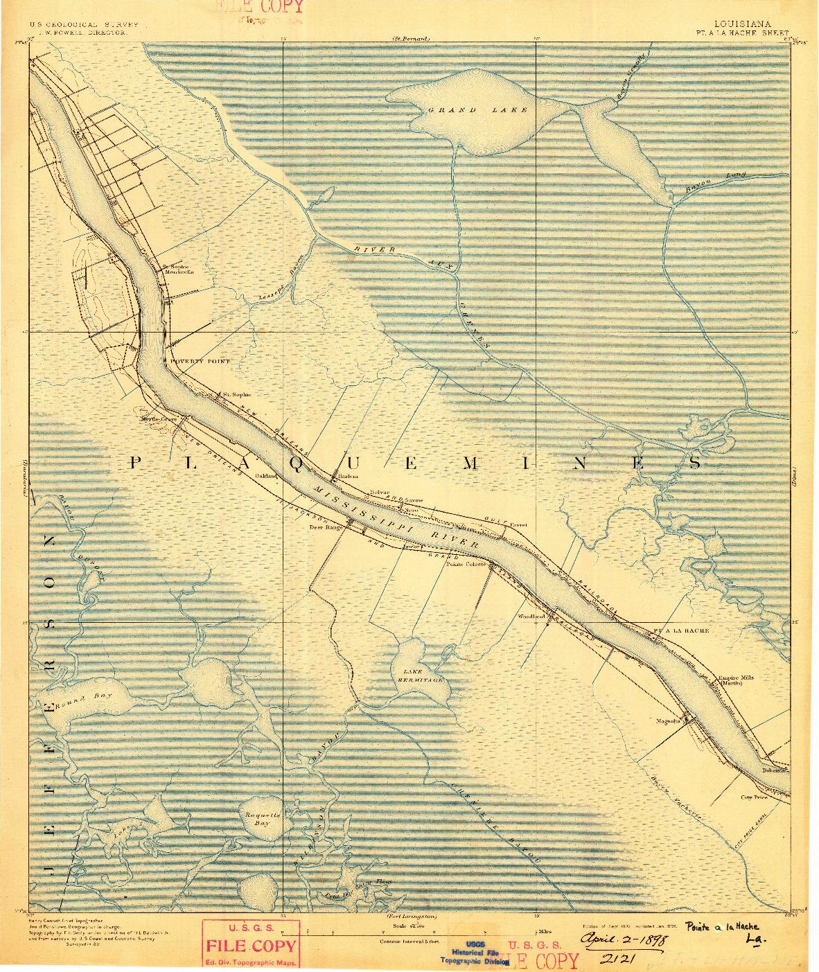 USGS 1:62500-SCALE QUADRANGLE FOR POINTE A LA HACHE, LA 1892